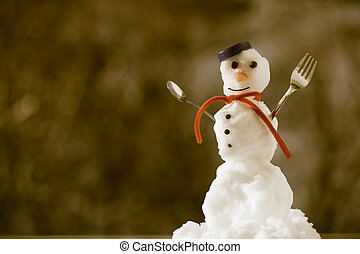 Little happy christmas snowman in blue screw top as hat red scarf with fork teaspoon outdoor. Winter season seasonal specific. Blurred background. Sepia tone.