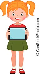 Little happy cute girl in full growth holds a computer tablet in her hand