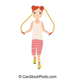 Little happy girl dressed in sportswear with jumping rope isolated on white background. Sports activity, training or fitness workout for kids. Colorful vector illustration in flat cartoon style.