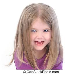 Little Happy Girl on White Background