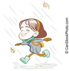 Little Happy Girl running in the rain Vector illustration....