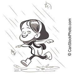 Little Happy Girl running in the rain Vector - Little Happy...