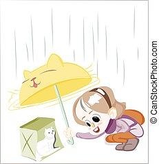 Little Happy Girl under the rain Vector - Little Happy Girl...
