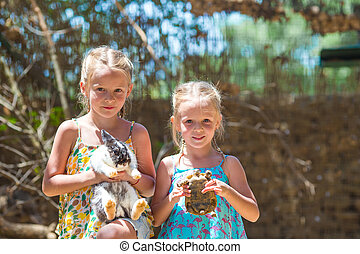 Little happy girl with a land tortoise and cute rabbit at...
