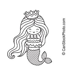 Little happy princess mermaid, holding a birthday cake.