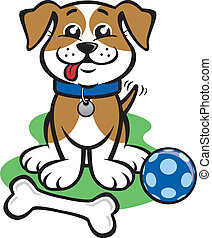 Little Happy Puppy - Illustration of a puppy with a ball and...