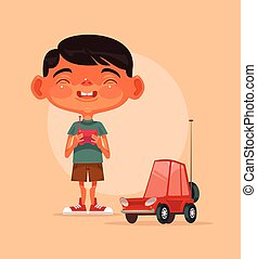 Little happy smiling boy character play with radio controlled car. Vector flat cartoon illustration