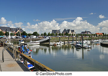 Little harbor in Normandy - Little harbor at the coast from...