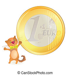 Little hare pointing at big Euro sy
