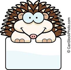 Little Hedgehog Sign - A cartoon illustration of a little...