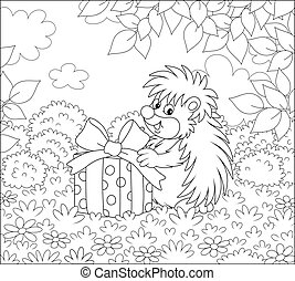 Joyful and friendly smiling small prickly forester holding a beautiful box with a holiday present on a pretty forest glade on a warm summer day, black and white outline vector cartoon illustration for a coloring book page