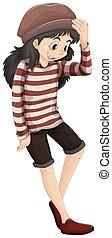 Little hipster girl on white background