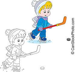 Little hockey player - Boy with skates, hockey stick and...
