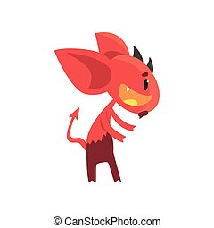 Little horned devil posing with happy face. Cartoon...