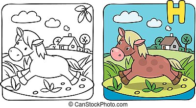 Little horse or pony coloring book. Alphabet H
