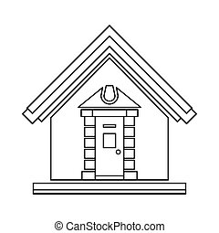 Little house icon, outline style