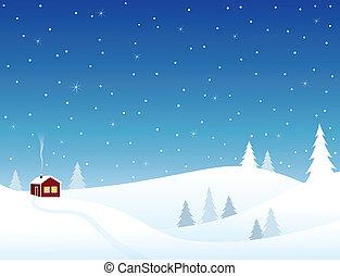 Little house in snowy hills, cozy winter scene.