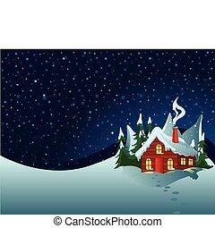 Little house in snowy hills. Pastoral winter scene.