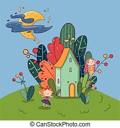 Little house surrounded by plants. Fairy girls having fun on yard. Bright moon with stars on sky. Fantasy landscape. Hand drawn design for kids story book or poster