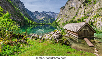 Little hut at the lake Obersee in Alps, Europe