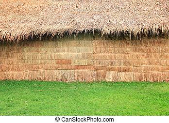 Little hut in green grass