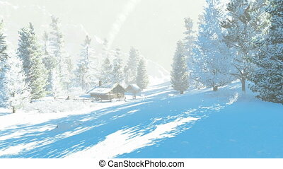 Little hut in the snowy mountains - Daytime winter scenery....