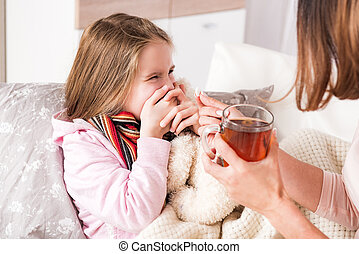 Little ill girl refuse to drink pill