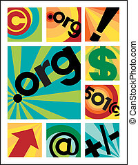 Vector collection of nine non-profit organization designs. Typestyle is my own creation.