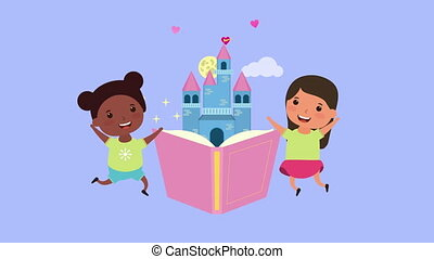 little interracial girls with fairytale book and castle ,4k ...