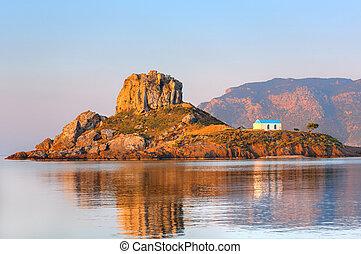 Little island Kastri near Kos, Greece - View on little ...