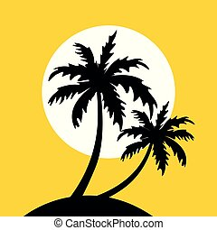 little island with palm trees and sun on yellow background