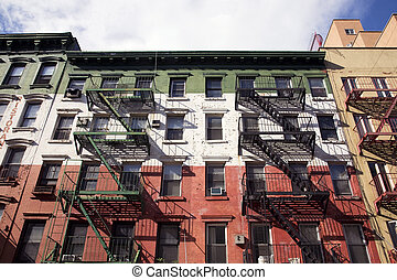 Builiding in Little Italy area of New York painted in the colours of the Italian flag.