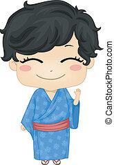Little Japanese Boy Wearing Traditonal Costume