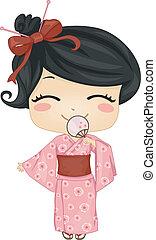 Little Japanese Girl Wearing National Costume - Illustration...