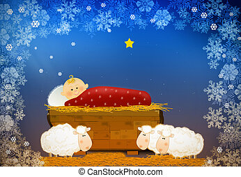 Little Jesus and ships in Bethlehem