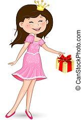 Little joyful princess with a gift