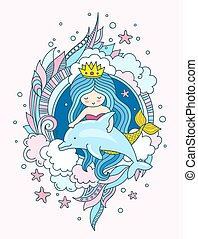 Little kawaii princess mermaid with dolphin. Siren with long blue hair. Under the sea. Vector illustration for print, card.