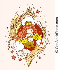 Little kawaii princess mermaid with two fish, surrounded by seaweed, clouds, starfish. Vector illustration for poster, print, card.
