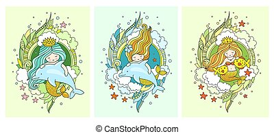 Little kawaii princess mermaids, dolphins, fish.