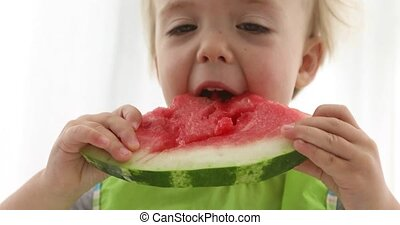 Little kid boy eating watermelon at table