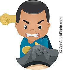 Little Kid Boy Superhero Punching Someone - Illustration of...