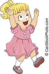 Illustration of a Happy Little Girl Catching Glitters