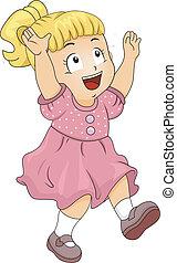 Little Kid Girl Catching Glitters