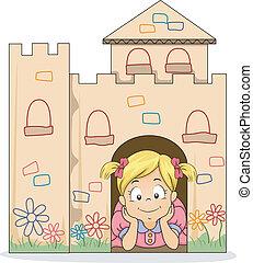 Little Kid Girl in a Cardboard Castle