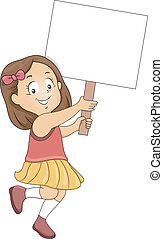 Little Kid Girl with Blank Signboard 2