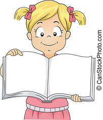 Little Kid Girl with Open Blank Book