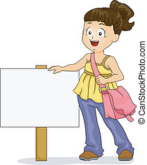 Little Kid Girl with Signboard