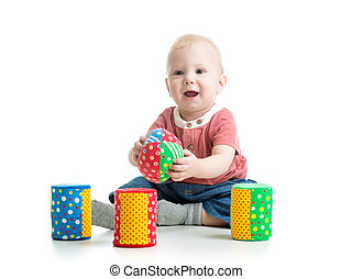 little kid playing with building blocks