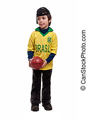 little kid with basketball isolated