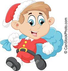 little kid with santa costum